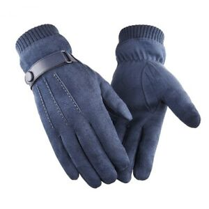 Winter Men Touch Screen Suede Gloves Belt Casual Thermal Thick Leather Glove