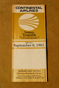 Continental Airlines System Timetable - Sept 8, 1982