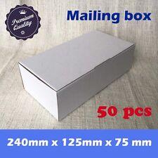 50x Mailing Paper Box Shipping Cardboard Carton boxes White 240x125x75mm