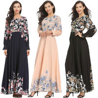 Women Floral Long Cocktail Muslim Maxi Dress Evening Party Dresses Islamic Abaya