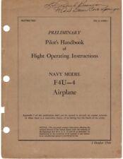 1944 VOUGHT F4U-4 CORSAIR FIGHTER PRELIMINARY PILOTS FLIGHT MANUAL HANDBOOK-CD