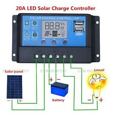 20amp LCD Display PWM Solar Charge Controller Dual USB Solar Panel Kit Regulator