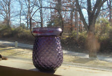 Antique 1890s Amethyst Glass Fairy Float Lamp Christmas Candle Light With Handle