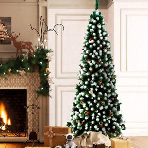 Albero di Natale Slim Artificiale Innevato 210cm 895 Rami Con Pigne Natalino