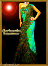CHARISMATICO GREEN PAGEANT TRANSVESTITE DRAG QUEEN Feather PEACOCK SEQUIN GOWN