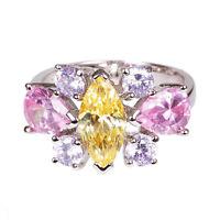 5694 lila incl Anillo de acero inoxidable bolsa de joyería rosa nuevo circonita pedrería