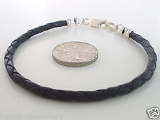 Mens Bracelet Wristband 3mm Leather Braid Bonded 925 Sterling Silver choose size