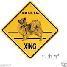 Chihuahua Long Hair Dog Crossing Xing Sign New Made in USA