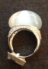 Sterling Silver & Cubic Zirconia Moonstone Ring Size 8