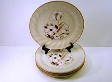 6 DINNER PLATES FELICITY HEARTHSIDE STONEWARE SCULPTURA LINE BROWN WHITE FLOWER*