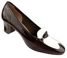 Vintage Florsheim Womens Tipper Heels Size 8N Brown White Wingtip Patent Leather