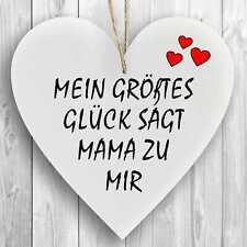Herzschild Holzherz Holzschild 16 x 16 cm Mein größtes Glück sagt Mama zu mir we