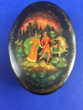 Vintage Hand Painted Russian Small Oval Lacquer Trinket Box Red Interior Signed