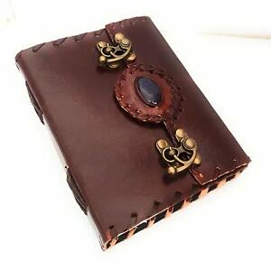 Leather Journal with Stone Writing Pad Blank Notebook With 2 Metal C-Lock