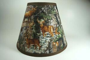 Large Deer Bear Turkey Tree Camo Fabric  Washer Top Lampshade Lamp Shade