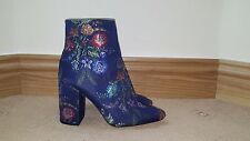 OFFERS WELCOME! BNWT ZARA EMBROIDERED DETAIL BLUE ANKLE BOOTS SHOES HEELS SIZE 3