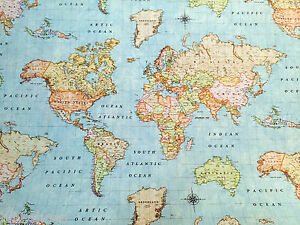 Mundo Mapa 3 Tela -vintage Atlas Cortina Tapicería Algodón Material 280cm Ancho