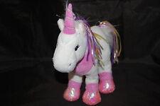 "Webkinz Ribbon Unicorn Pink White Blue Purple Yellow No Code Plush Ganz 12"" Toy"
