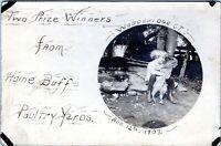 Woodbridge Ct Little Girl Holding Chicken Farming Zwick Real Photo Postcard