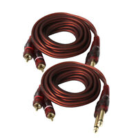 "2pcs Dual 1/4"" To Dual RCA Audio Cable Male 6.35mm 1/4"" Mono to RCA Male"