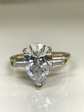 Pear Shape with Tulip Head  Engagement Ring 3.50 ctw. 14K Yellow Gold #4662