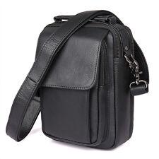 """Mens Genuine Leather Shoulder Messenger Bag 7.9"""" Tablet Handbag Day pack Satchel"""