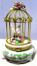 CERAMIC BIRD CAGE w DOVES ~ VINTAGE TRINKET BOX
