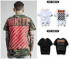 OFF WHITE C/O Virgil Abloh Cotton T-Shirt Short Sleeve Camo Striped Street Wear