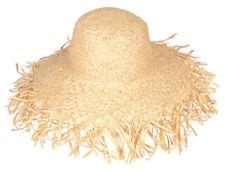 NATURAL RAFFIA FRAYED WIDE BRIM SUN HAT packable woven fair trade Madaraff NEW!