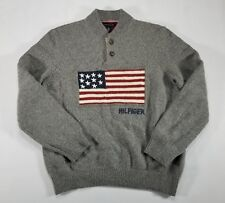 Tommy Hilfiger WOOL blend Knit USA Flag Crewneck Sweater XL Gray Spell Out 2012
