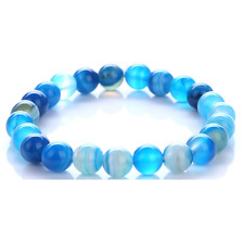 Blue Onyx Stone Bead Stretch Bracelet Fashion. Mens Womens Unisex