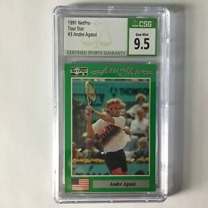 1991 Netpro Tour Star Andre Agassi RC #3 CSG 9.5 (GEM MINT)