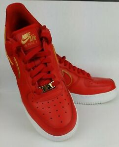 Nike Air Force 1 Size 7.5 Woman's University Red Gold & White AO2132 602