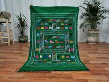Moroccan Red Handmade wool carpet 3'x4'7 Berber Nomad Sahara Tribalwool Rug 5