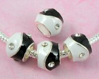 20pcs Silver Plated Enamel Charm YING YANG Beads Inlay Crystal Fit Bracelet E14