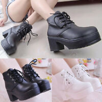 Women Punk Round Toe Platform Lace Up Goth Creeper Chunky Heel Ankle Boots Shoes