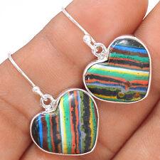 Heart - Rainbow Calsilica 925 Sterling Silver Earrings Jewelry EE43846