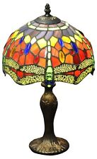 Red Dragonfly Tiffany Lamp Electric Light Multi Colour Home Lighting Decor 42cm