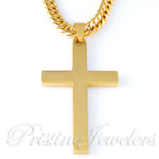 NEW Mens Stainless Steel Cross Necklace Cuban Curb Chain Plain Silver Gold Black