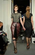 $1250 NWT PORTS 1961 brocade wine crimson multi black leather insert skirt  4