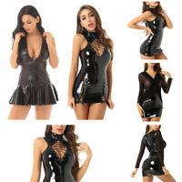 Womens Ladies Wetlook Lace up Bodycon Mini Dress Evening Party Sleeveless Club