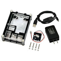 5V 2.5A Power Supply Adapter + Black Slices Case w/ Fan for Raspberry Pi 2 3 B+