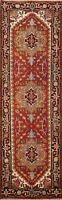 Geometric Indo Heriz Oriental Runner Rug Hand-Knotted Traditional Carpet 3x8 ft