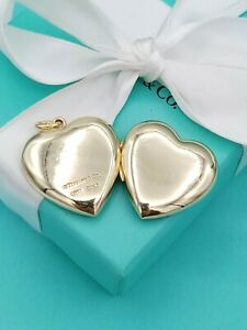 "Rare Authentic Tiffany & Co 14k Y Gold Heart Locket Pendant 1.25"""