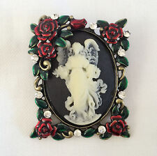 Brooch Pin Wedding Party Gift Br1098A New Rectangle Flower Vintage Style Cameo
