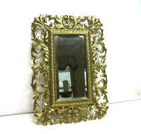 Vintage Gold Tone Metal Ornate Hollywood Regency Wall Hanging Mirror