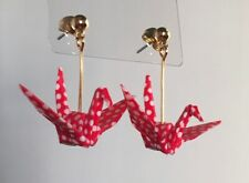Paper Crane Earring made with Origami White polka dot pattern on red From Japan