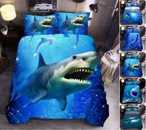 2/3Pcs Sea Big Shark Quilt Doona Duvet Cover Set Kids Single Queen King Size Bed