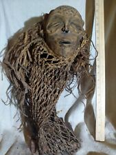 Chokwe Mask — Long Thatch Headdress — Great Details — Authentic African Wood Art