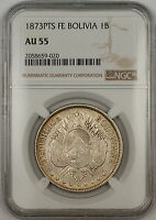 1873-PTS FE Bolivia 1B Boliviano Silver Coin NGC AU-55